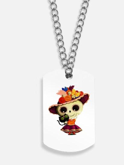 Cute Dia de Los Muertos Skeleton Girl Dog Tags