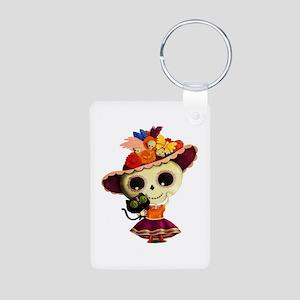 Cute Dia de Los Muertos Skeleton Girl Keychains