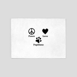 Peace Love Papillons 5'x7'Area Rug
