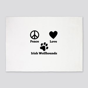 Peace Love Irish Wolfhounds 5'x7'Area Rug