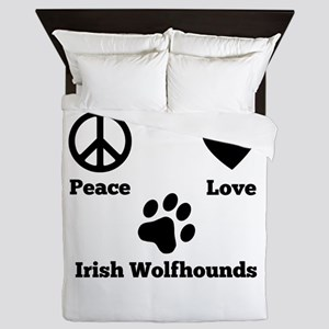 Peace Love Irish Wolfhounds Queen Duvet