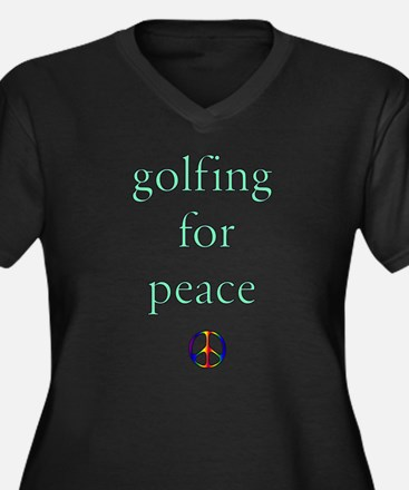 Golfing for Peace Women's Plus Size V-Neck Dark T-