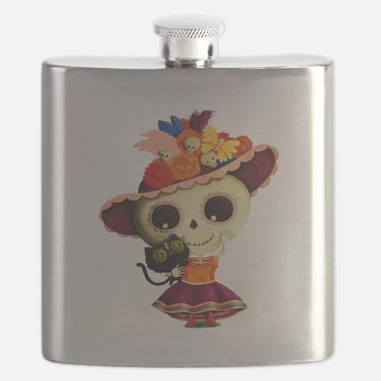 Cute Dia de Los Muertos Skeleton Girl Flask