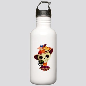 Cute Dia de Los Muertos Skeleton Girl Water Bottle