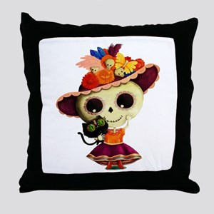 Cute Dia de Los Muertos Skeleton Girl Throw Pillow