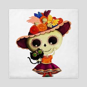 Cute Dia de Los Muertos Skeleton Girl Queen Duvet