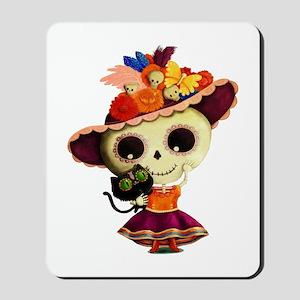 Cute Dia de Los Muertos Skeleton Girl Mousepad