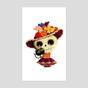Cute Dia de Los Muertos Skeleton Girl Sticker