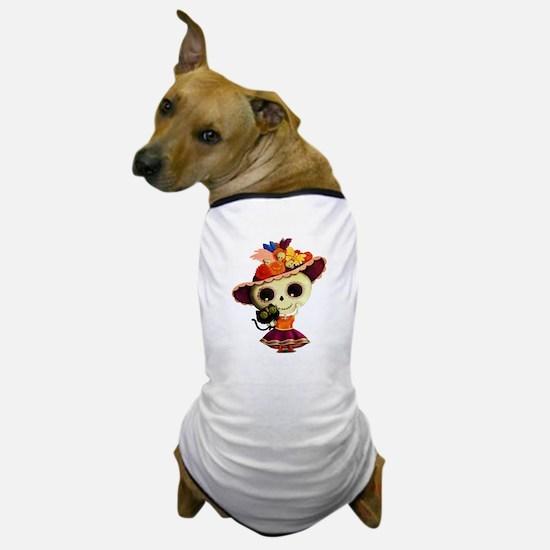 Cute Dia de Los Muertos Skeleton Girl Dog T-Shirt