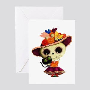 Cute Dia de Los Muertos Skeleton Girl Greeting Car