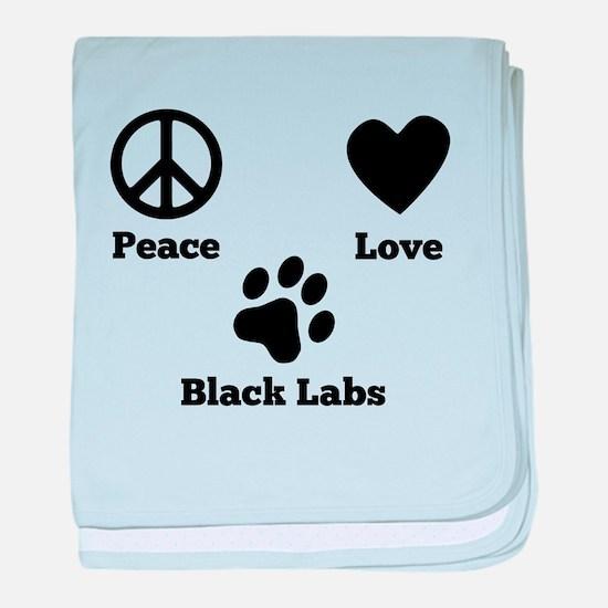 Peace Love Black Labs baby blanket