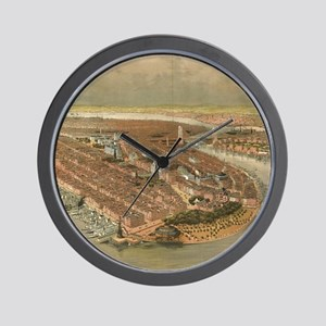 Vintage Pictorial Map of New York City Wall Clock