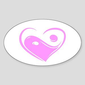 Ying Yang Love Oval Sticker