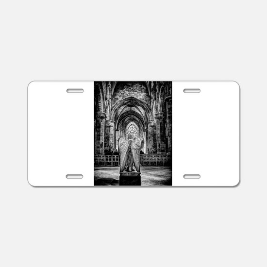 Black and White Church View Aluminum License Plate