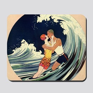 Vintage Art Deco Love Romantic Kiss Beac Mousepad