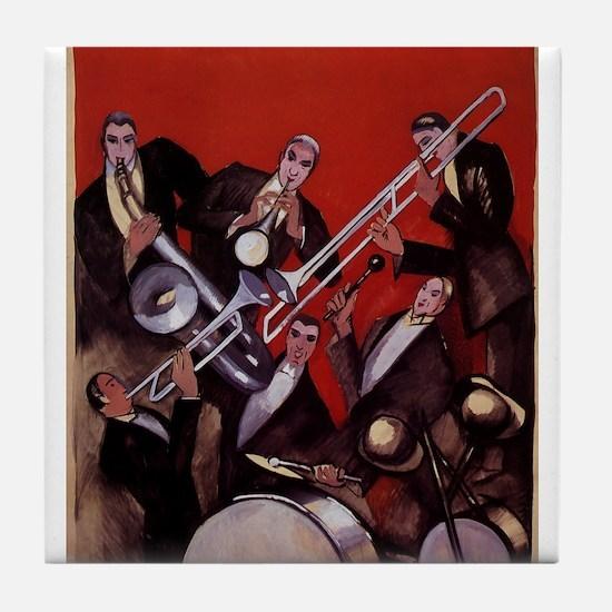 Vintage Music, Art Deco Jazz Tile Coaster