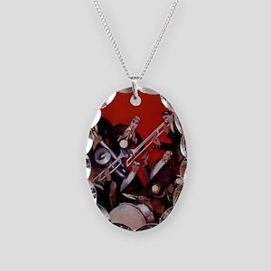 Vintage Music, Art Deco Jazz Necklace Oval Charm