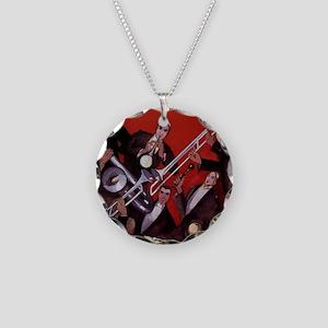 Vintage Music, Art Deco Jazz Necklace Circle Charm