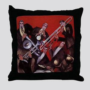 Vintage Music, Art Deco Jazz Throw Pillow
