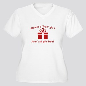 What Is A Free Gift? Women's Plus Size V-Neck T-Sh