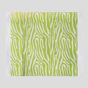Lime green animal print (basic) Throw Blanket