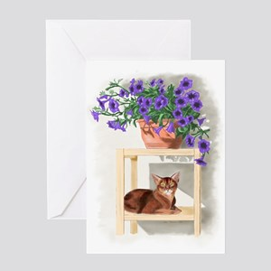 Abyssinian Cat With Petunias Greeting Cards