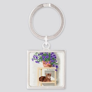 Abyssinian Cat With Petunias Keychains