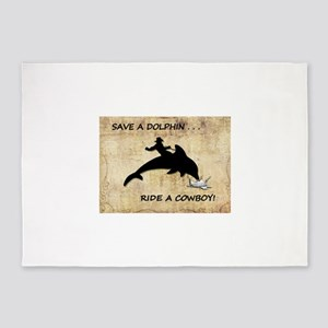 dolphin cowboy 5'x7'Area Rug