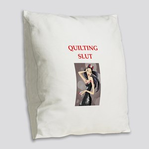 quilting Burlap Throw Pillow