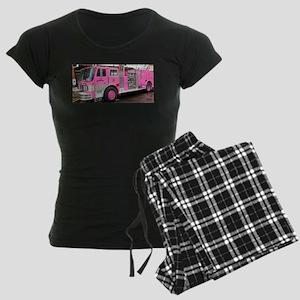 Pink Fire Truck (real) Women's Dark Pajamas