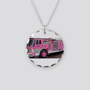 Pink Fire Truck (real) Necklace Circle Charm