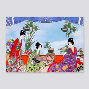 3 Geisha Musicians, Kimonos ! 5'x7'area Ru