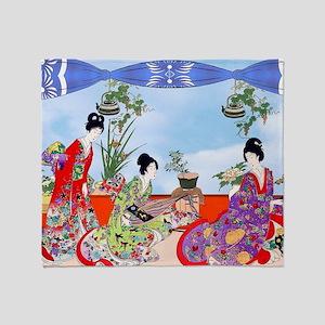 3 Geisha Musicians, Kimonos ! Throw Blanket
