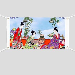 3 Geisha Musicians, Kimonos ! Banner