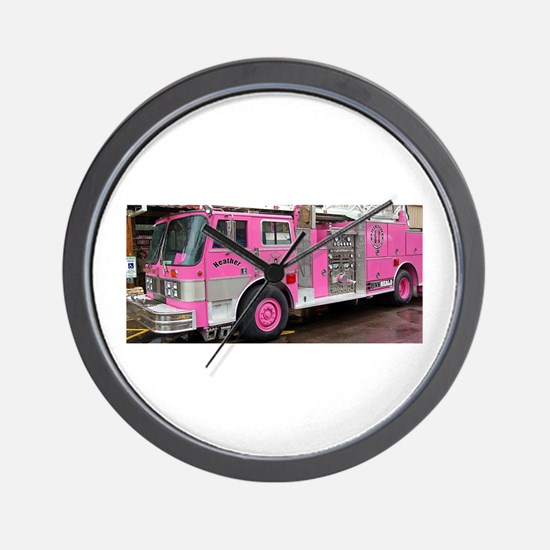 Pink Fire Truck (real) Wall Clock