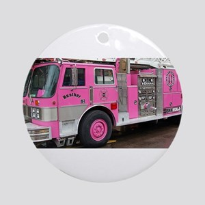 Pink Fire Truck (real) Ornament (Round)