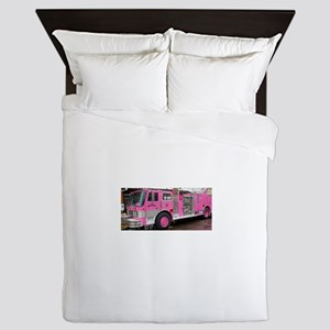 Pink Fire Truck (real) Queen Duvet