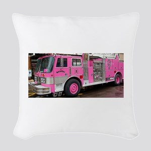 Pink Fire Truck (real) Woven Throw Pillow