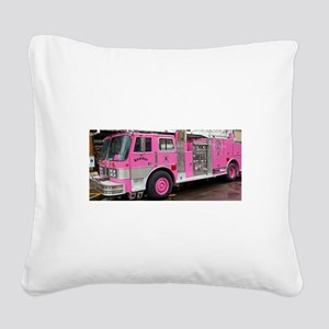 Pink Fire Truck (real) Square Canvas Pillow