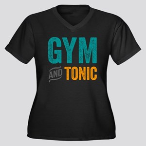 Gym and Toni Women's Plus Size V-Neck Dark T-Shirt