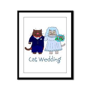 Cat Wedding Framed Panel Print