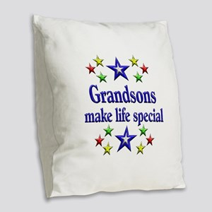 Grandsons are Special Burlap Throw Pillow