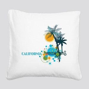 Palm Trees Sun and Circles Square Canvas Pillow