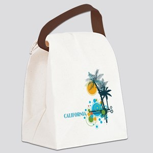 Palm Trees Sun and Circles Canvas Lunch Bag