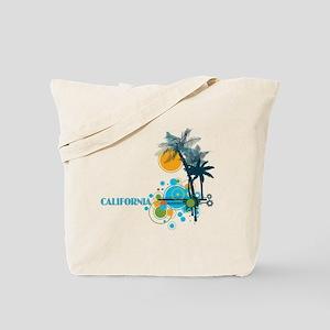 Palm Trees Sun and Circles Tote Bag