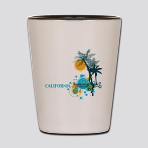 Palm Trees Sun and Circles Shot Glass
