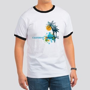 Palm Trees Sun and Circles Ringer T