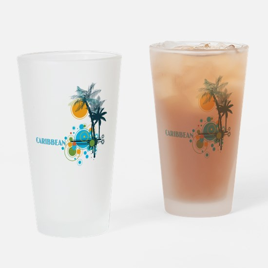 Palm Trees Sun and Circles Drinking Glass