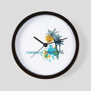 Palm Trees Sun and Circles Wall Clock