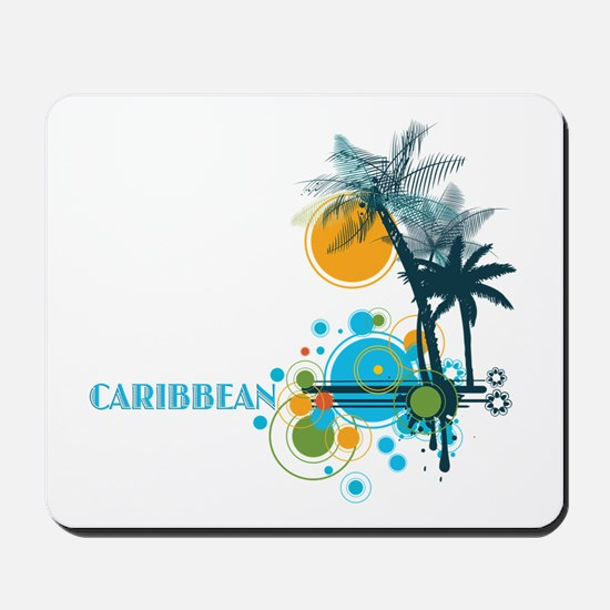 Palm Trees Sun and Circles Mousepad